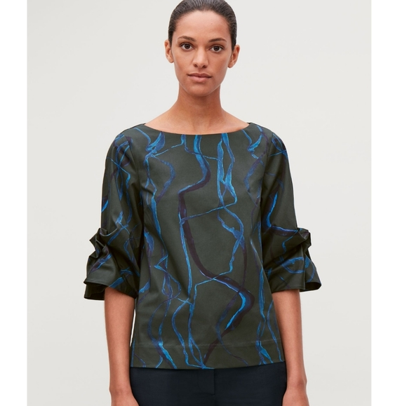 COS Printed Poplin Top with Structured Sleeves